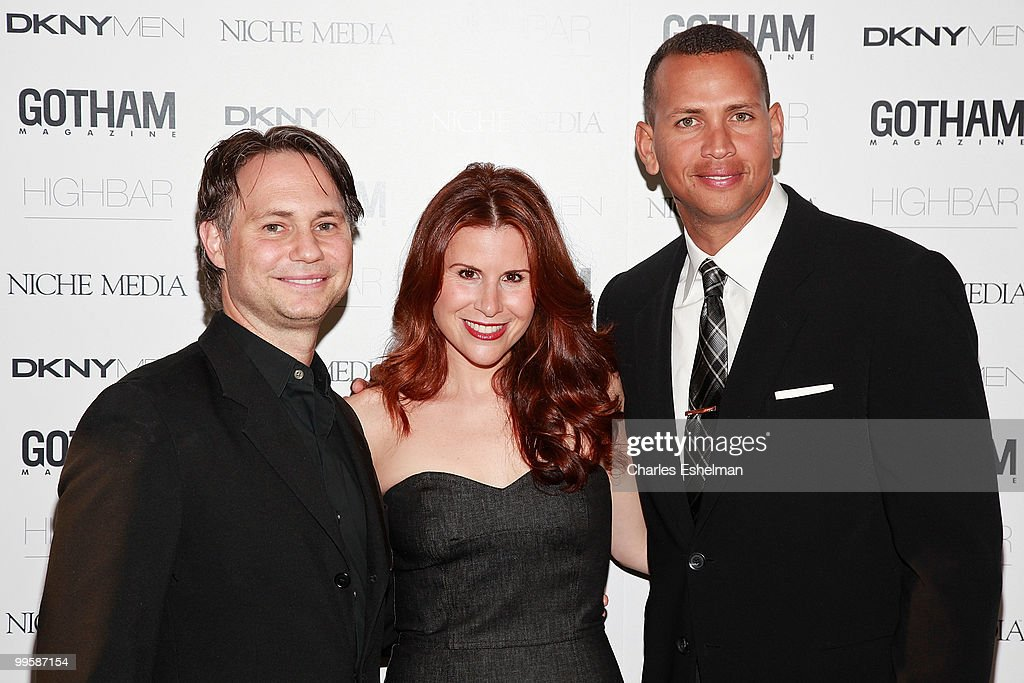 Niche Media Holdings Founder and CEO Jason Binn, DKNY executive Aliza Licht and NY Yankees third baseman Alex 'A-Rod' Rodriguez attend the Alex Rodriguez cover party hosted by Jason Binn & Niche Media's Gotham Magazine at Highbar on May 15, 2010 in New York City.