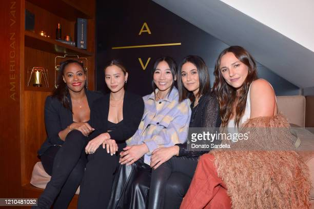 Nichelle Hines, Jamie Chung, guest, Emmanuelle Chriqui and Briana Evigan attend the American Vanity Skincare Launch Party at Sunset Tower on March...