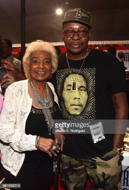 Nichelle Nichols and Bobby Brown attend day one of the 2018 BET Awards Radio Remotes on June 22, 2018 in Los Angeles, California.
