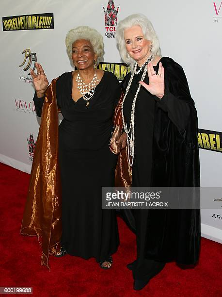 Nichelle Nichols and Celeste Yarnall attend the World Premiere Screening of 'Unbelievable' A SciFi Adventure Parody in Hollywood California on...
