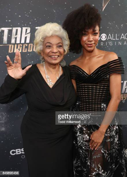 Nichelle Nichols and Sonequa Martin attend the premiere of CBS's 'Star Trek Discovery' at The Cinerama Dome on September 19 2017 in Los Angeles...