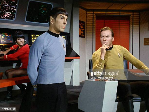 Nichelle Nichols as Lt Uhura Leonard Nimoy as Commander Spock and William Shatner as Captain James T Kirk on the bridge of the USS Enterprise on the...