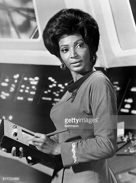 Nichelle Nichols in her role as communications officer Lt Uhura on the TV series Star Trek