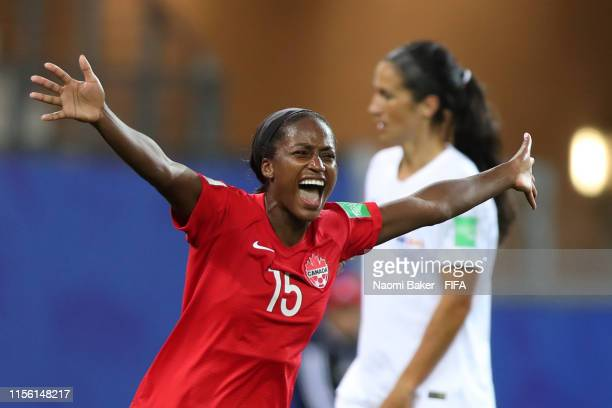 Nichelle Prince of Canada celebrates after scoring her team's second goal during the 2019 FIFA Women's World Cup France group E match between Canada...