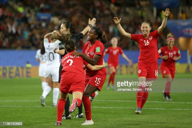 Nichelle Prince of Canada celebrates with teammate Allysha Chapman after scoring her team's second goal during the 2019 FIFA Women's World Cup France...