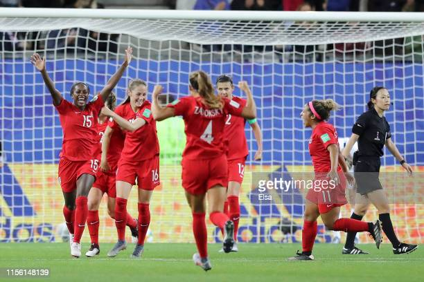Nichelle Prince of Canada celebrates with teammates after scoring her team's second goal during the 2019 FIFA Women's World Cup France group E match...