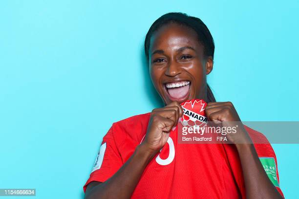 Nichelle Prince of Canada poses for a portrait during the official FIFA Women's World Cup 2019 portrait session at Courtyard by Marriott Montpellier...