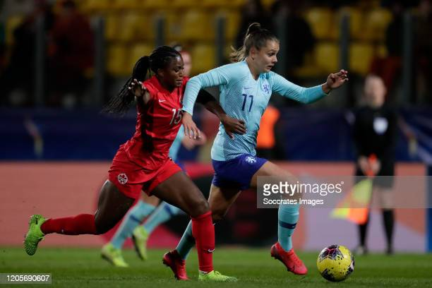 Nichelle Prince of Canada Women Lieke Martens of Holland Women during the International Friendly Women match between Canada v Holland at the Stade de...