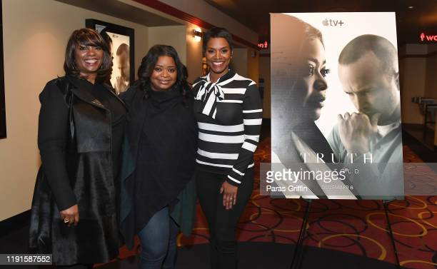 Nichelle Tramble Spellman Octavia Spencer and Rashan Ali attend Apple TV's Truth Be Told Atlanta screening at AMC Parkway Pointe on December 02 2019...
