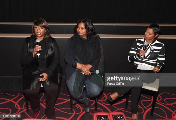 Nichelle Tramble Spellman Octavia Spencer and Rashan Ali speak onstage during Apple TV's Truth Be Told Atlanta screening at AMC Parkway Pointe on...