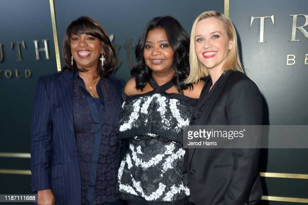 Nichelle Tramble Spellman Octavia Spencer and Reese Witherspoon arrive at the premiere of Apple TV's 'Truth Be Told' at AMPAS Samuel Goldwyn Theater...