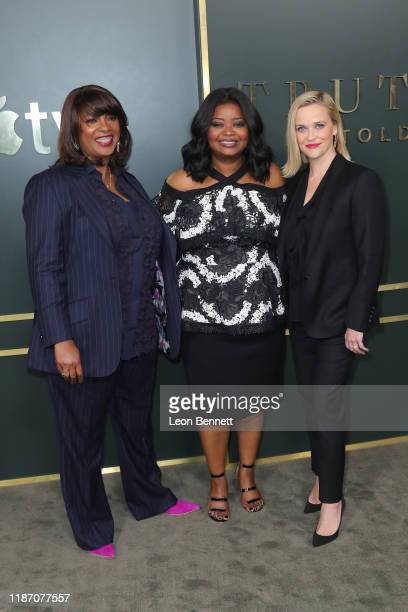 Nichelle Tramble Spellman Octavia Spencer and Reese Witherspoon attend Premiere Of Apple TV's Truth Be Told at AMPAS Samuel Goldwyn Theater on...