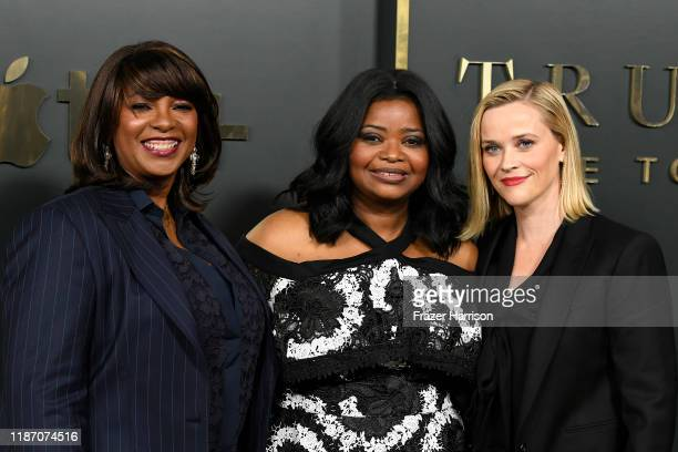 Nichelle Tramble Spellman Octavia Spencer and Reese Witherspoon attend the Premiere Of Apple TV's Truth Be Told at AMPAS Samuel Goldwyn Theater on...