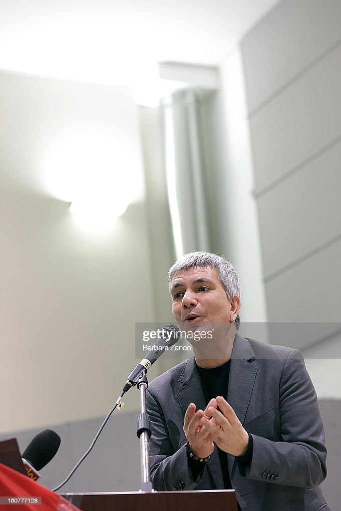 Nichi Vendola, the president of Apulia and leader of Sinistra ecologia e Liberta party, speaks on stage during an Electoral Campaign at Palaplip on February 5, 2013 in Mestre, Italy. The Italian general elections take place on February 24/25.