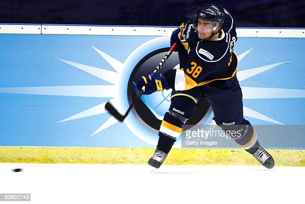 Nichlas Torp in action during the IIHF Champions Hockey League match between HV 71 Joenkoeping and Espoo Blues on December 3, 2008 in Jonkoeping,...