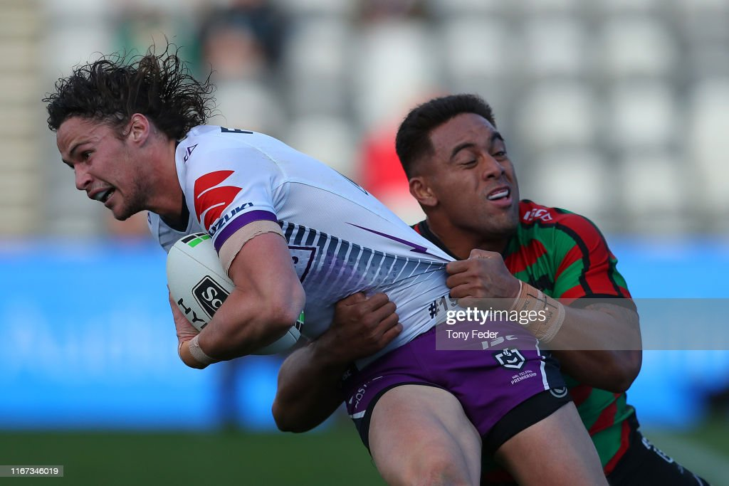 Nicho Hynes Of The Melbourne Storm Is Tackled During The Round 21 Nrl News Photo Getty Images