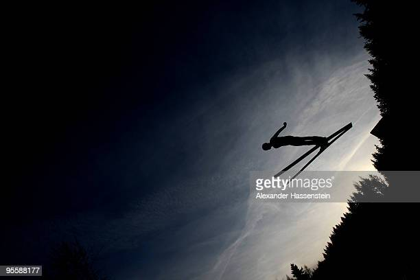 Nicholas Alexander of USA competes during trial round for the FIS Ski Jumping World Cup event of the 58th Four Hills ski jumping tournament on...