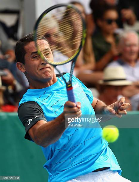 Nicholas Almagro of Spain plays a shot during his match against Santiago Giraldo of Columbia on day three of the 2012 Heineken Open at the ASB Tennis...