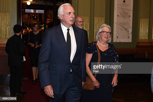 Nicholas and Judith Whitlam depart following the state memorial service for former Australian Prime Minister Gough Whitlam at Sydney Town Hall on...