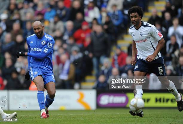 Nicholas Anelka of Chelsea scores the opening goal during the FA Cup sponsored by EON Fourth round match between Preston North End and Chelsea at...