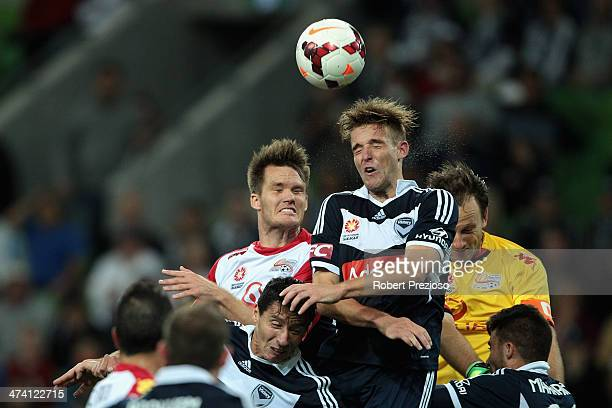 Nicholas Ansell of Victory heads the ball during the round 20 ALeague match between Melbourne Victory and Adelaide United at AAMI Park on February 22...