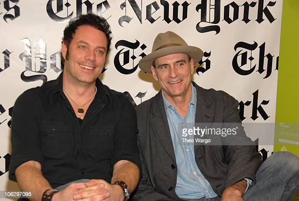 Nicholas Barron and James Taylor during James Taylor Hosts The New York Times Emerging Artist Series at Joes Pub in New York City New York United...