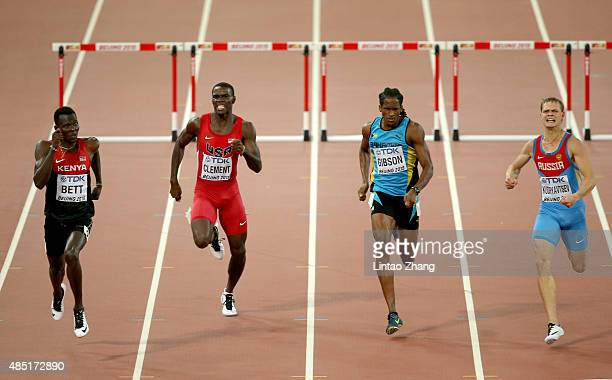 Nicholas Bett of Kenya beats Kerron Clement of the United States Jeffery Gibson of the Bahamas and Denis Kudryavtsev of Russia to win gold in the...