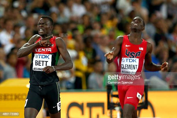 Nicholas Bett of Kenya beats Kerron Clement of the United States to win gold in the Men's 400 metres hurdles final during day four of the 15th IAAF...