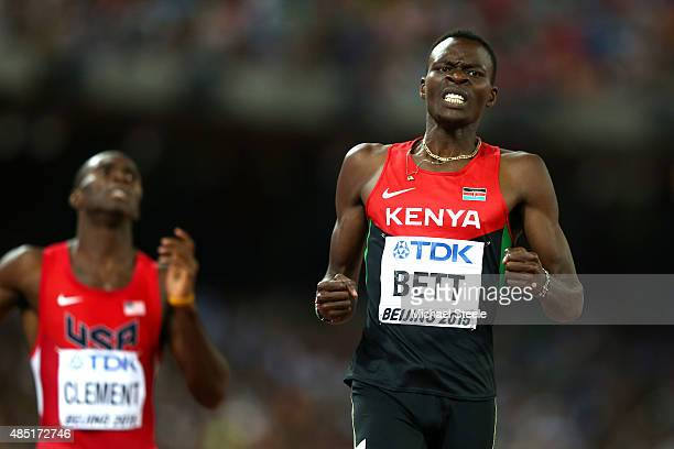 Nicholas Bett of Kenya reacts after winning gold in the Men's 400 metres hurdles final during day four of the 15th IAAF World Athletics Championships...
