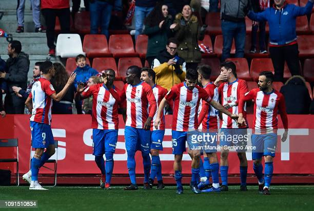 Nicholas Blackman of Real Sporting Gijon celebrates after scoring his team's second goal during the Copa del Rey Round of 16 match between Real...