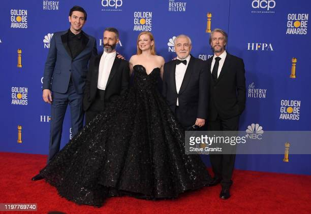Nicholas Braum Jeremy Strong Sarah Snook Brian Cox and Alan Ruck pose in the press room during the 77th Annual Golden Globe Awards at The Beverly...