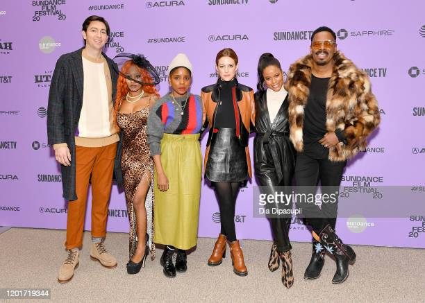 Nicholas Braun Aziah King Janicza Bravo Riley Keough Taylour Paige and Colman Domingo attend the Zola premiere during the 2020 Sundance Film Festival...