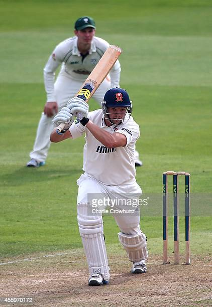 Nicholas Browne of Essex hits out during day one of the LV County Championship match between Essex and Worcestershire at The Ford County Ground on...