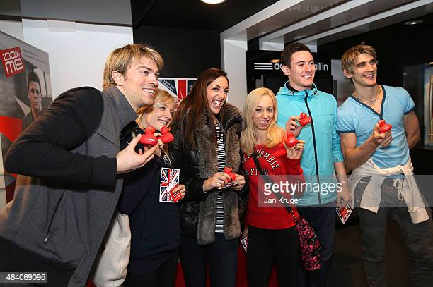 Nicholas Buckland Penny Coomes Jenna McCorkell Stacey Kemp Matthew Parr and David King of Great Britain visits the anti doping stand during the Team...