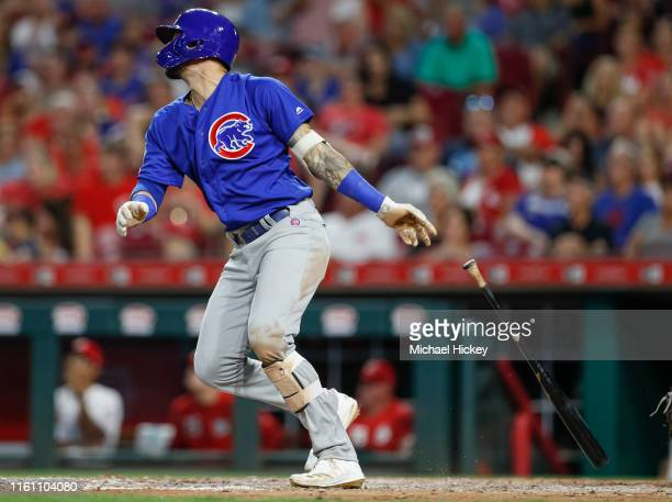 Nicholas Castellanos of the Chicago Cubs bats during the game against the Cincinnati Reds at Great American Ball Park on August 8 2019 in Cincinnati...
