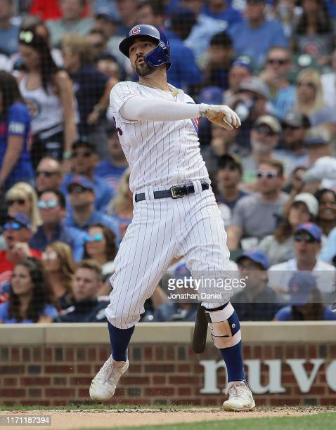 Nicholas Castellanos of the Chicago Cubs hits his second two run home run in the 2nd inning against the Milwaukee Brewers at Wrigley Field on August...