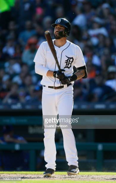 Nicholas Castellanos of the Detroit Tigers bats against the Texas Rangers at Comerica Park on July 7 2018 in Detroit Michigan