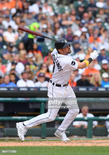 Nicholas Castellanos of the Detroit Tigers bats during game one of a double header against the Cleveland Indians at Comerica Park on September 1 2017...