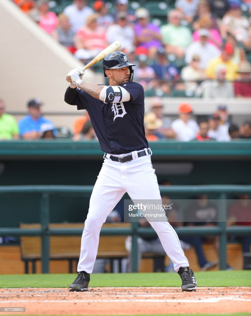 Nicholas Castellanos #9 of the Detroit Tigers bats during the Spring Training game against the Atlanta Braves at Publix Field at Joker Marchant Stadium on March 1, 2018 in Lakeland, Florida. The Braves defeated the Tigers 5-2.