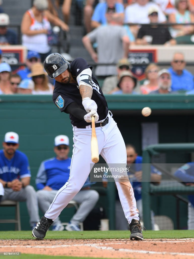 Nicholas Castellanos #9 of the Detroit Tigers bats during the Spring Training game against the Toronto Blue Jays at Publix Field at Joker Marchant Stadium on February 24, 2018 in Lakeland, Florida. The Tigers defeated the Blue Jays 5-4.