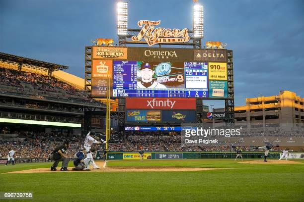 Nicholas Castellanos of the Detroit Tigers bats in the fifth inning during a MLB game against the Tampa Bay Rays at Comerica Park on June 16 2017 in...