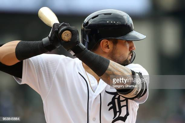Nicholas Castellanos of the Detroit Tigers bats in the first inning while playing the Tampa Bay Rays at Comerica Park on May 2 2018 in Detroit...