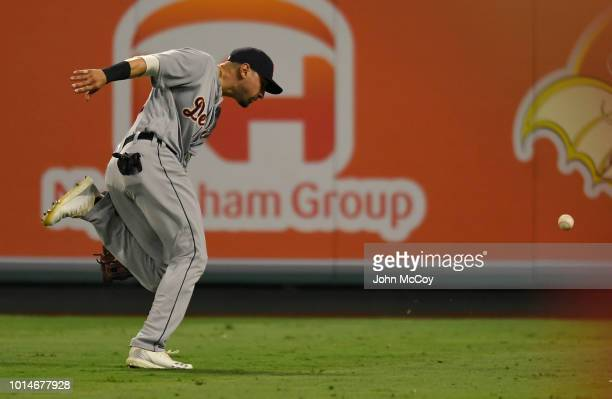 Nicholas Castellanos of the Detroit Tigers chases a ball in the seventh inning against the Los Angeles Angels of Anaheim at Angel Stadium on August 6...
