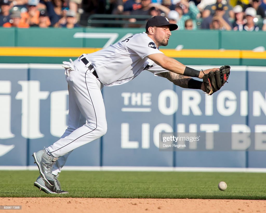 Nicholas Castellanos #9 of the Detroit Tigers drops a pop up in the seventh inning against the Los Angeles Dodgers during a MLB game at Comerica Park on August 19, 2017 in Detroit, Michigan.