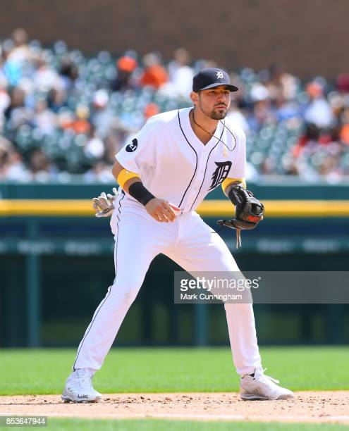Nicholas Castellanos of the Detroit Tigers fields during game one of a double header against the Cleveland Indians at Comerica Park on September 1...