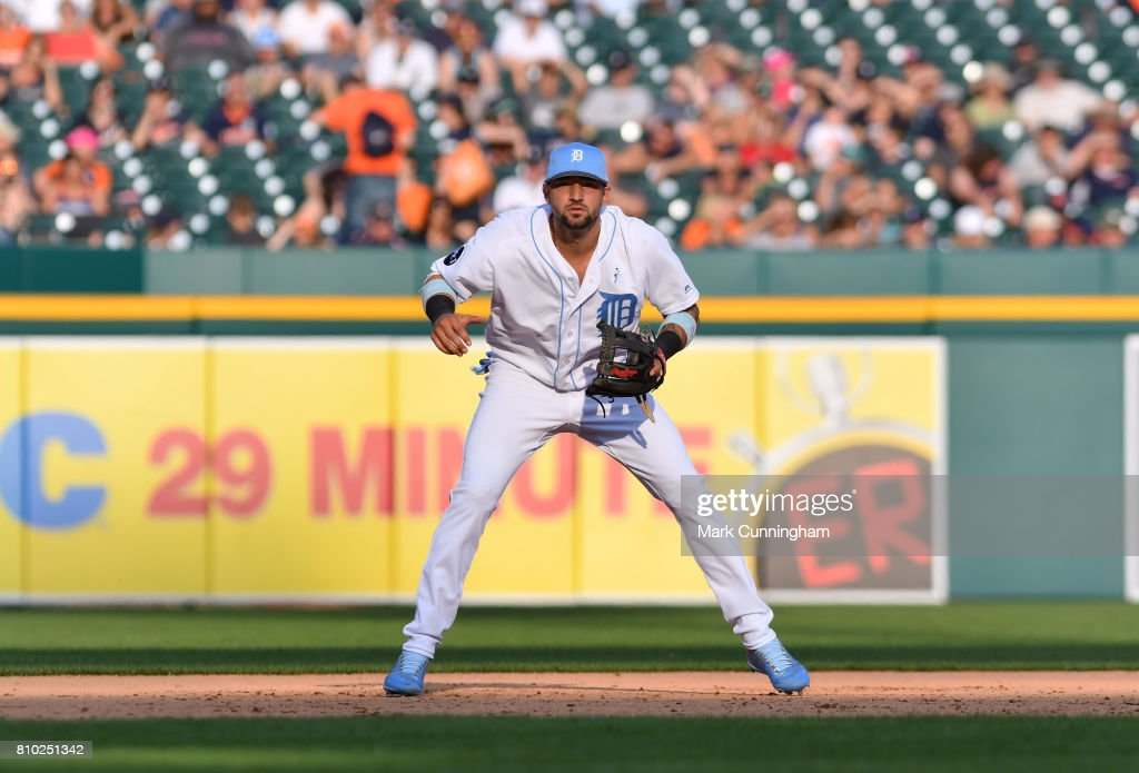 Nicholas Castellanos #9 of the Detroit Tigers fields during the game against the Tampa Bay Rays while wearing a special blue jersey, shoes and hat for prostate cancer awareness on Father's Day Weekend at Comerica Park on June 17, 2017 in Detroit, Michigan. The Rays defeated the Tigers 3-2.