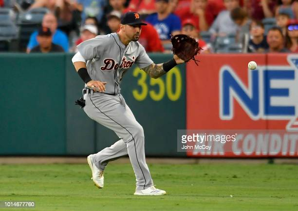 Nicholas Castellanos of the Detroit Tigers fields the ball against the Los Angeles Angels of Anaheim in the second inning at Angel Stadium on August...