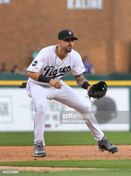Nicholas Castellanos of the Detroit Tigers fields while wearing a special jersey to honor the ¡Fiesta Tigres celebration game against the Minnesota...