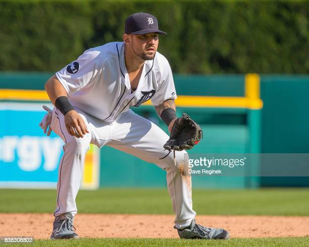Nicholas Castellanos of the Detroit Tigers gets set for the pitch against the Los Angeles Dodgers during a MLB game at Comerica Park on August 19...