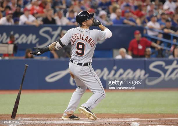 Nicholas Castellanos of the Detroit Tigers hits a grand slam home run in the fifth inning during MLB game action against the Toronto Blue Jays at...